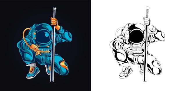 インクとフルカラーの宇宙飛行士の野球のアートワークのイラスト