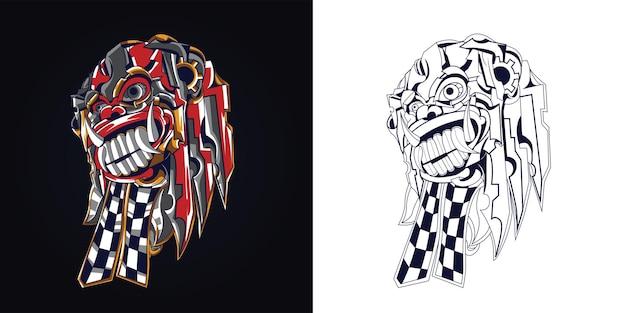 インクとフルカラーバロン文化バリのアートワークイラスト Premiumベクター