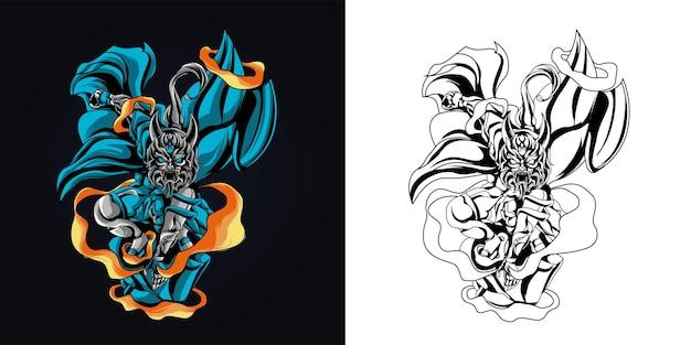 잉크 및 풀 컬러 사탄 원숭이 삽화 삽화