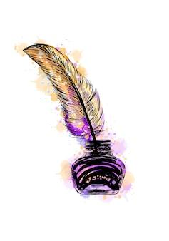 水彩のスプラッシュからの羽が付いているインクつぼ、手描きのスケッチ。塗料のイラスト