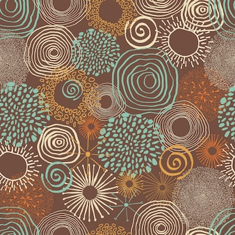Inky colored circles in seamless pattern.