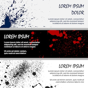 Inky red an black splashes banner templates