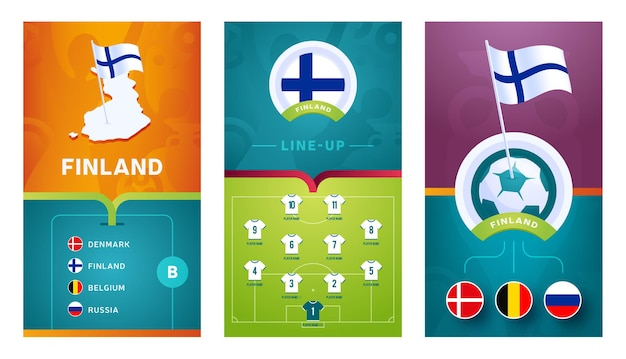 Inland team european   football vertical banner set for social media.  inland group b banner with isometric map, pin flag, match schedule and lineup on soccer field