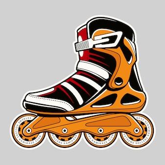 Inline roller skate extreme colors art on grey.  illustration.