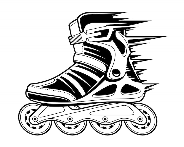 Inline roller skate with motion effect  on white. black and white  illustration.