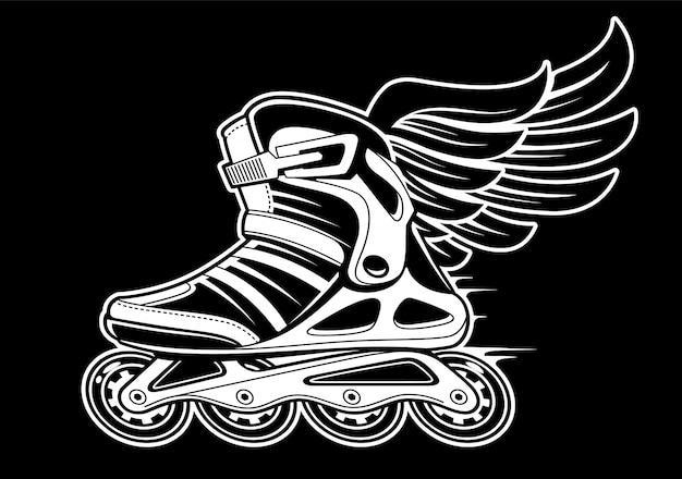 Inline roller skate with wing  on black. black and white  illustration.