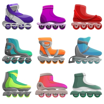 Inline skates set, cartoon style