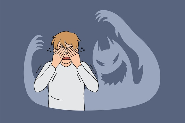 Inner fears and feeling terrified concept. young stressed frustrated man standing covering eyes with hands feeling chocked and afraid with ghost shadows around vector illustration