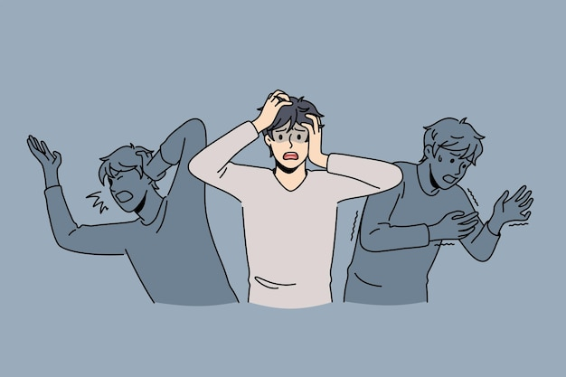 Inner fears and panic concept. young stressed frustrated man feeling chocked with afraid shadows around vector illustration
