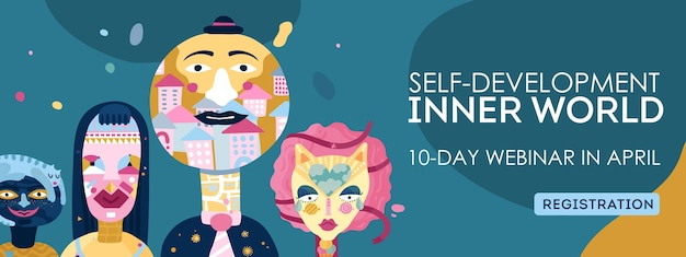 Inner world self-development online webinar registration webpage header with personality types characters symbols abstract illustration