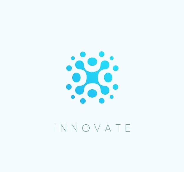 혁신 기술 파란색 iccon 추상적인 기술 벡터 로고 템플릿