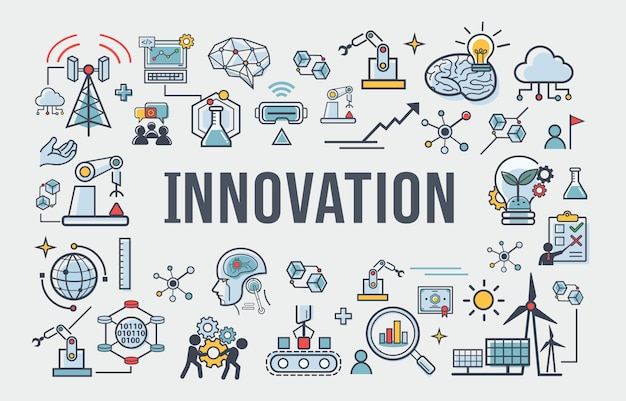 Innovation banner icon for business, brain, research, development and science.