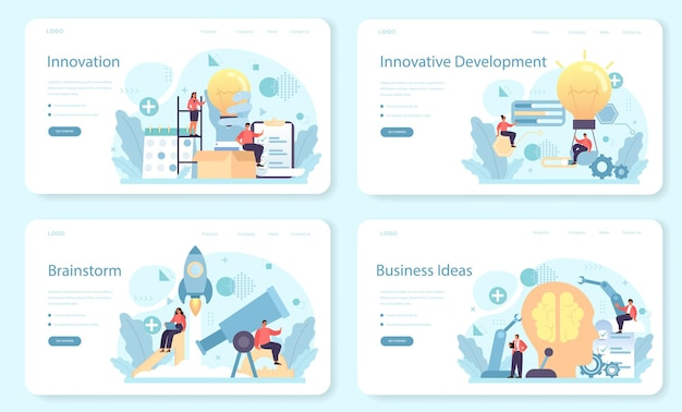Innovation banner web set. idea of creative business solution.