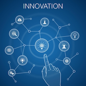 イノベーションコンセプト、青い背景。インスピレーション、ビジョン、創造性、開発アイコン