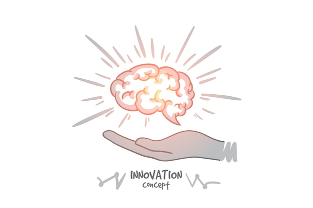 Инновационная концепция. руки drawn человеческий мозг в руках. мозг как символ творчества и идей изолировал иллюстрацию.