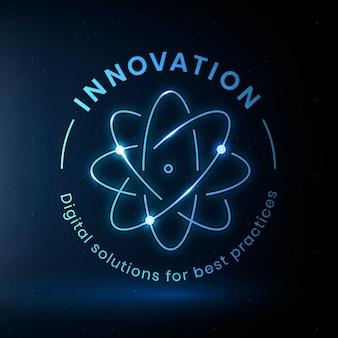 Шаблон логотипа инновационного образования с графикой атомной науки