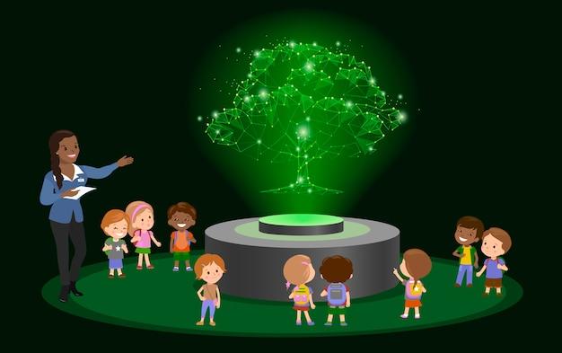 Innovation education school kindergarten. hologram on future museum center.