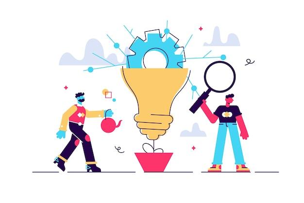 イノベーション。平らな小さな創造性のアイデアの人の概念。ソリューションの電球記号とチームワーク。イマジネーションビジョン分析と発明研究。新しい、オリジナルの情報。