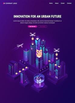Инновация для городской будущей изометрической целевой страницы
