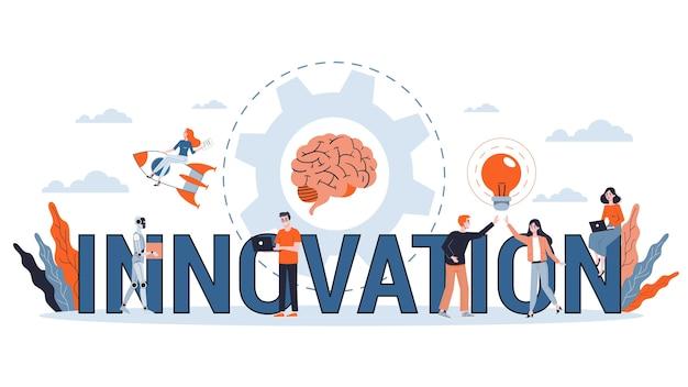 귀하의 웹 사이트를위한 혁신 가로 배너. 창의적인 해결책과 현대 발명의 아이디어. 비즈니스 영감. 삽화