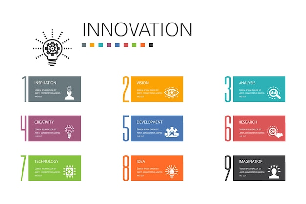 혁신 인포 그래픽 10 옵션 라인 concept.inspiration, 비전, 창의성, 개발 간단한 아이콘