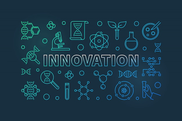 Innovation and science colored outline illustration