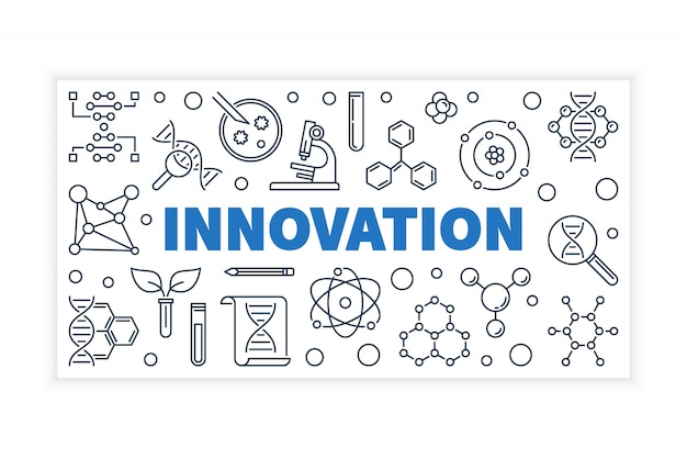 Innovation science outline vector banner.