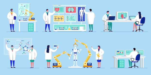 Innovation in science technology, people working in laboratory with artificial intelligence research illustration.