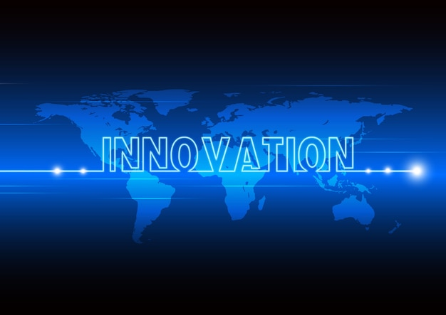Innovation technology moving with world map