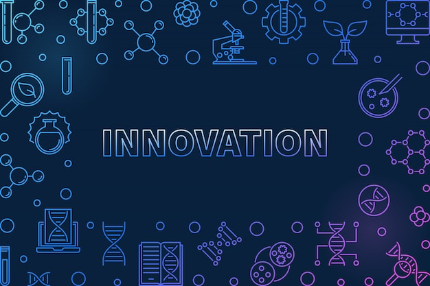 Innovation vector genetics concept outline colorful horizontal illustration on dark background