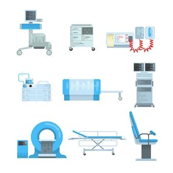 Innovational medical diagnostic equipment set of vector illustrations