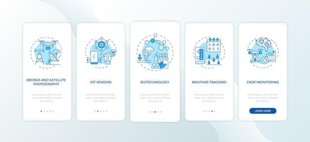 Инновационные сельскохозяйственные технологии на экране страницы мобильного приложения с концепциями.