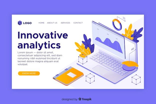 革新的な分析のランディングページ