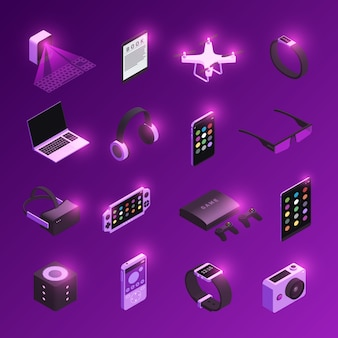 Innovative electronic technology gadgets  isometric icons set with virtual reality headset smart watch purple