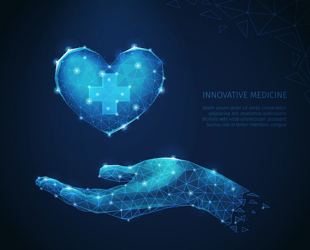 Innovative medicine abstract composition with polygonal wireframe images of human hand carefully holding heart vector illustration