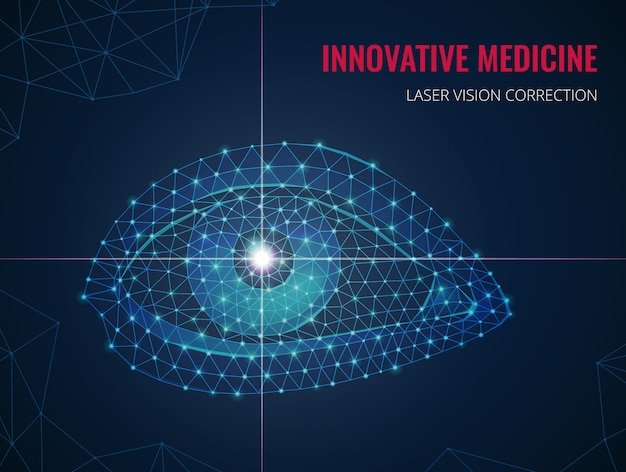 Innovative medicine with human eye image in wireframe polygonal style and advertising of laser vision correction vector illustration