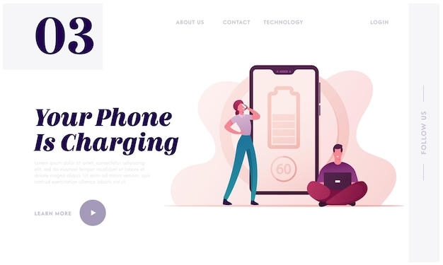 Innovative modern electronic equipment for gadgets wireless charging landing page template.