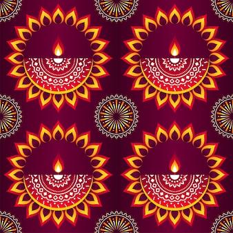マンダラパターンの背景を持つ革新的なオイルランプ(ディヤ)。