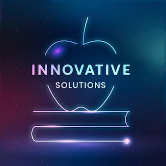 Innovative solutions logo template vector education technology with textbook graphic