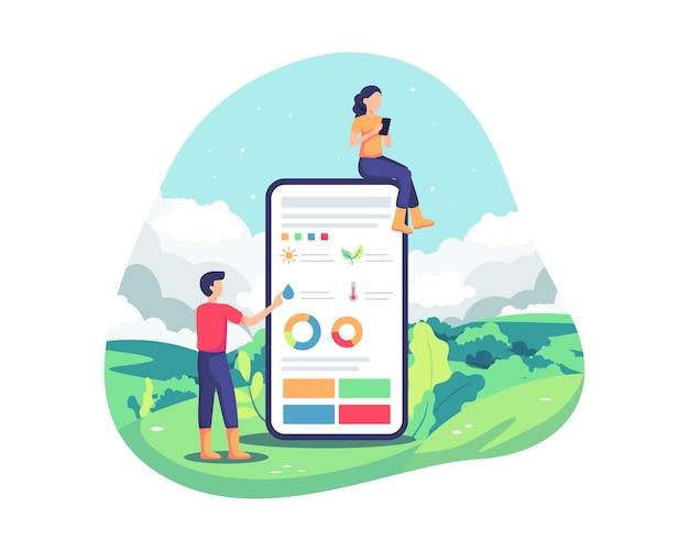 農業のための革新的な技術。リモコンによる農業オートメーション、スマートフォンでのアプリケーション。プランテーションのスマート分析、洗練された農業コンセプト。ベクトルイラストフラットスタイル