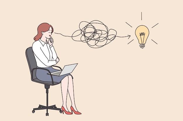 革新的な思考の新しいアイデアのお金を稼ぐ概念