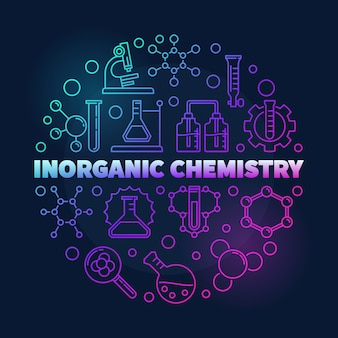 Inorganic chemistry colorful round linear icon illustration