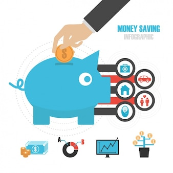 Экономия деньги inphographic шаблон