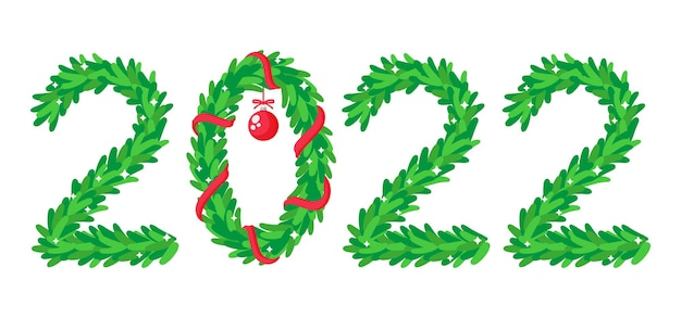 The inscription 2022, the numbers are depicted in the form of a christmas tree and wreath. vector template for cards, calendars, website banner, prints, invitations, etc. happy new year 2022.