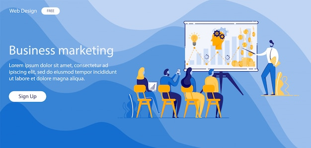 Inscription business marketing vector illustration