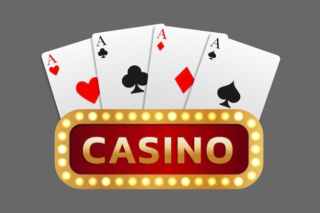 Вывеска казино с надписью в сочетании с комбинацией карт из четырех тузов. может использоваться как логотип, баннер, фон. векторная иллюстрация в реалистичном стиле.