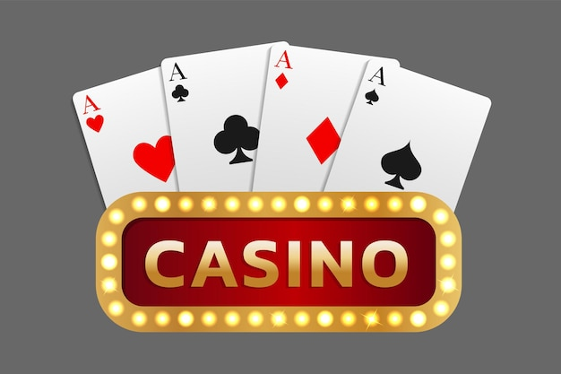 Inscription casino signboard combined with a combination of cards of four aces. can be used as a logo, banner, background. vector illustration in a realistic style.