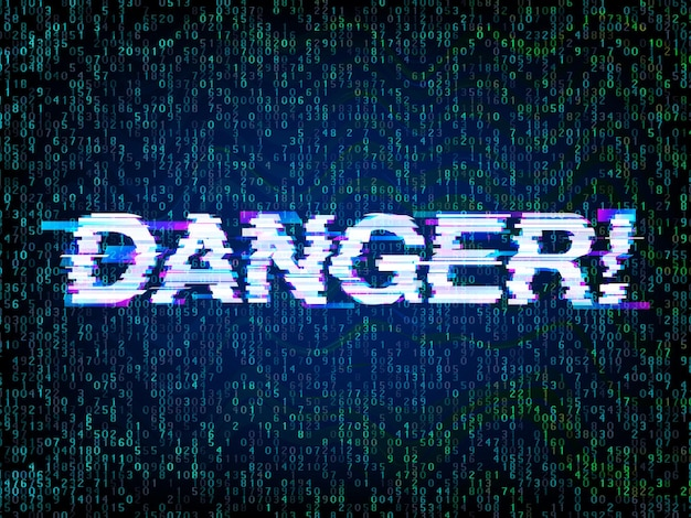 Inscription danger in glitch style with computer code background, glitched attention. computer hacked symbol, programming, hacker and coding error concept