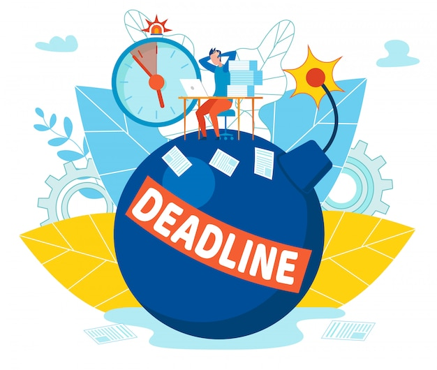Inscription deadline on bomb vector illustration.