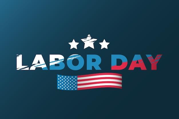 Дизайн надписи день труда в стиле гранж с флагом соединенных штатов америки на синем фоне. шаблон обложки праздник сша. векторная иллюстрация. eps 10